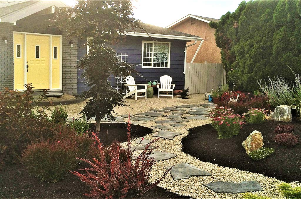 Lawn-free xeriscaped front yard after shot by Waterwise Design in Kelowna
