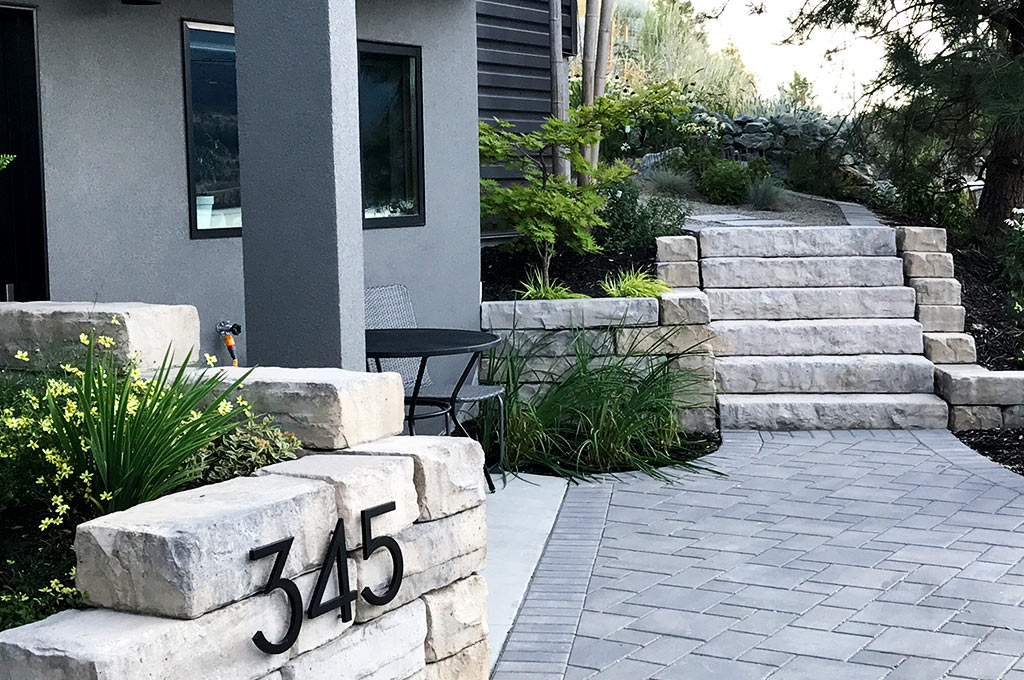 River cobble and elfin thyme lawn after shot by Waterwise Design in Kelowna